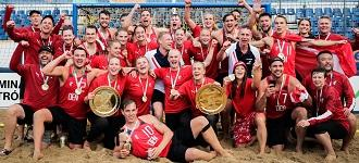 Denmark celebrate historic Beach Handball EURO titles