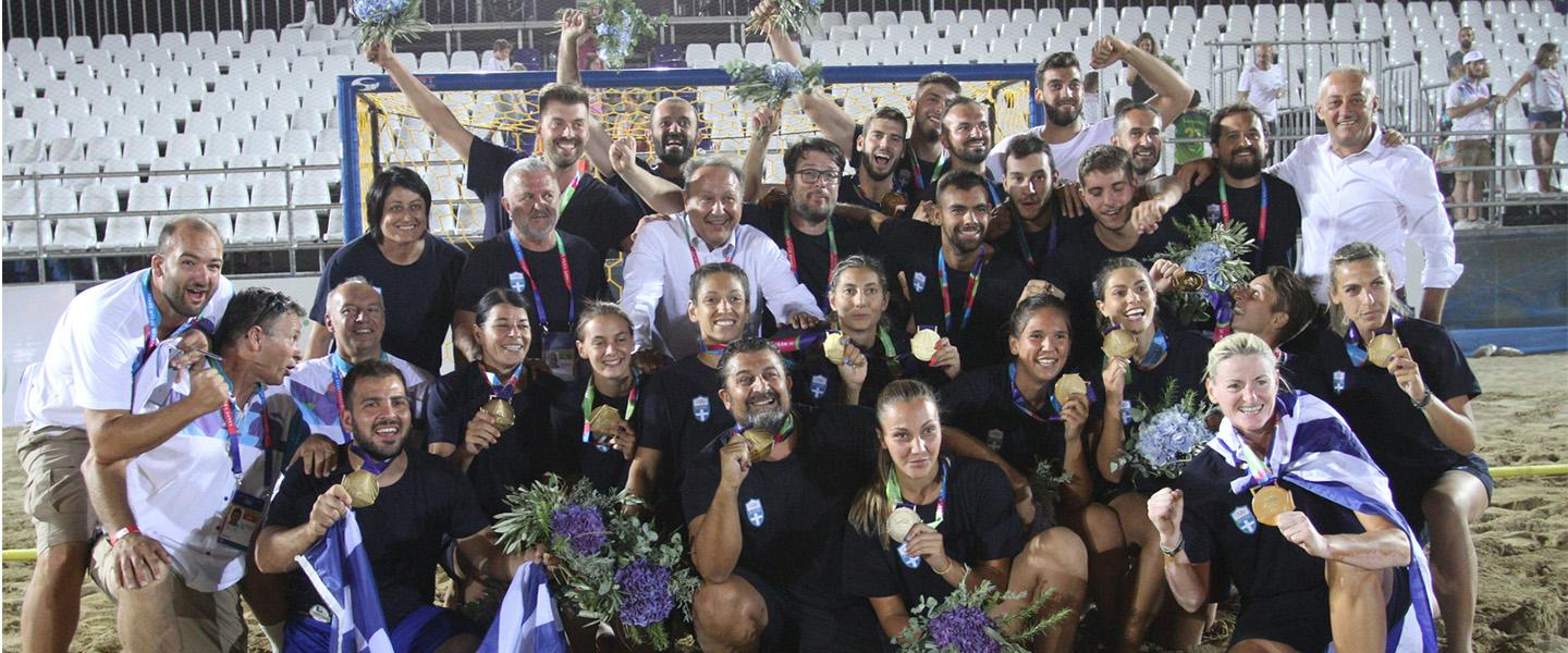 Double Greek beach handball delight in Mediterranean Beach Games
